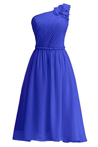 KekeHouse® Une épaule Robe Courte de Cérémonie Soirée Demoiselle d'honneur Femme Fille d'été Sans Manches Bleu roi