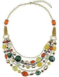 c94c2cbaa3a Bocar - Collier pour femme avec plusieurs chaînes et des cristaux colorés