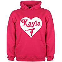 Personalised Gymnastics Hoodie Dance Girls Name Heart Custom Gift Choose Colours Birthday Childrens Toddler