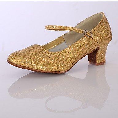 Ruhe @ Damen Tanzschuhe Satin/Sparkling Glitter Latin Ballroom Heels geschoben Ferse Innen Silber/Gold goldfarben