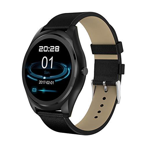 ZLOPV Intelligente Uhr Business Männer Frauen Smart Watch Mit Pulsmesser Schritte Zähler Elektronische Smartwatch Connect iPhone Android Phones, Schwarz