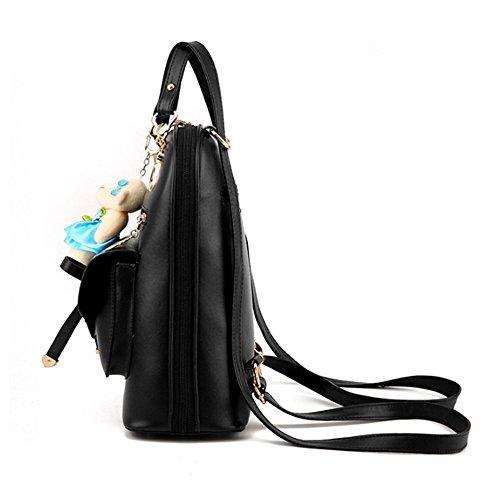 SANANG Mädchen Frauen PU-Leder Schule Umhängetasche Reiserucksack Rucksack mit Bär Anhänger Rosa