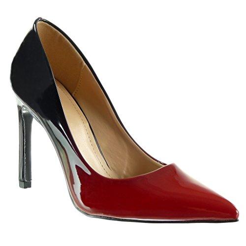 Angkorly - Chaussure Mode Escarpin stiletto decolleté femme dégradé de couleur Talon haut aiguille 10 CM Rouge