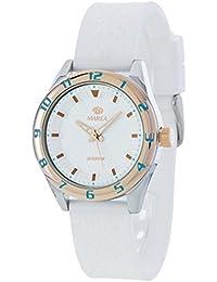 Ref. B35257/8 Reloj Marea Mujer, analógico, caja de acero, correa de caucho blanca, sumergible 50 metros, garantía 2 años.