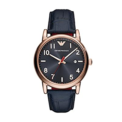 Emporio Armani Mens Analogue Quartz Watch with Leather Strap AR11135