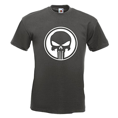 KIWISTAR - Punisher USA - Tank Totenkopf T-Shirt in 15 verschiedenen Farben - Herren Funshirt bedruckt Design Sprüche Spruch Motive Oberteil Baumwolle Print Größe S M L XL XXL Graphit