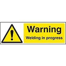 Caledonia signos 24497G señal de advertencia de soldadura en marcha, vinilo autoadhesivo, 300mm x 100mm