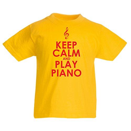 lepni.me Camiseta para Niño/Niña Mantén la Calma y Toca el Piano, para los Amantes de la música, Pianista de Regalo (3-4 Years Amarillo Rojo)