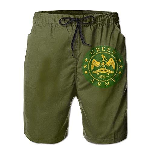 Green Army Decal Stiker Drawstring Swim Trunks Quick-Drying Boardshorts for MenL