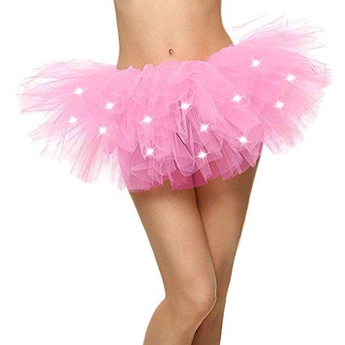 Caissen Damen Mini 5 Layered LED leuchtet Tüll Tutu Rock Kostüm Party Tanz Abnutzungs Ballkleid Petticoat Unterrock Rosa