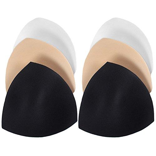 amm Abnehmbare Dreieck Push-up Brust Bra Pads Einsätze/Bikini Badeanzug BH-Einlagen (L, Schwarz + Weiß + Skin) ()