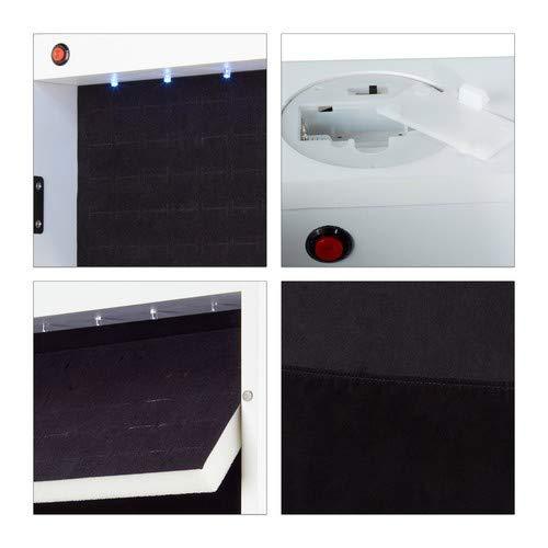 Relaxdays Schmuckschrank Spiegel zum Stellen – abschließbar – Spiegelschrank LED – weiß - 6