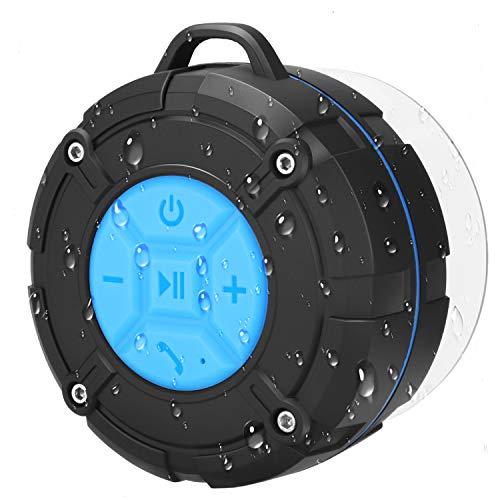 PEYOU Enceinte Bluetooth Portable,Étanche Haut-Parleur de Douche sans Fil IPX7 Parleur à Voix Haute stéréo de Bluetooth 4.2 avec Batterie 400mAh,Ventouse puissante,pour la Plage,Piscine et Cuisine