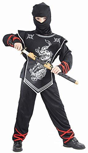 Kinderkostüm Krieger schwarz-silber 140/152 (10-12 Jahre) (Silber-ninja-kostüm)