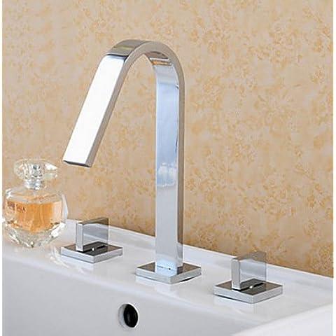 Luxury classic cromo lucido tre rame Foro valvola di miscelazione a caldo e a freddo con doppio manico rubinetti rubinetti del lavandino rubinetto spirale Faucet-Grade Accessori per bagno