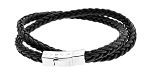 Tateossian Click Monaco Double Wrap Bracelet with Black Colour Spanish Leather and Sterling Silver Clasp of Length 40cm