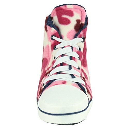 Home Slipper Unisex Kinder Sneaker Hausschuhe Pantoffeln für Zuhause angenehm und kuschelig in diverse Muster Armee Pink