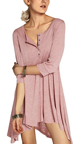 Urbancoco Damen kurz Ärmelige button down Asymmetrisch T-Shirt Sommer Tunika (L, rosa) - Rosa Button Down Shirt