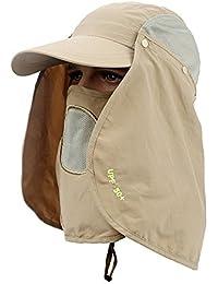 efluky 360 degrees rompevientos impermeable protectora del sol sdintel Mosquito pesca sombrero seco rápido desmontable Fisherman sombrero tapa UV50, caqui (1)