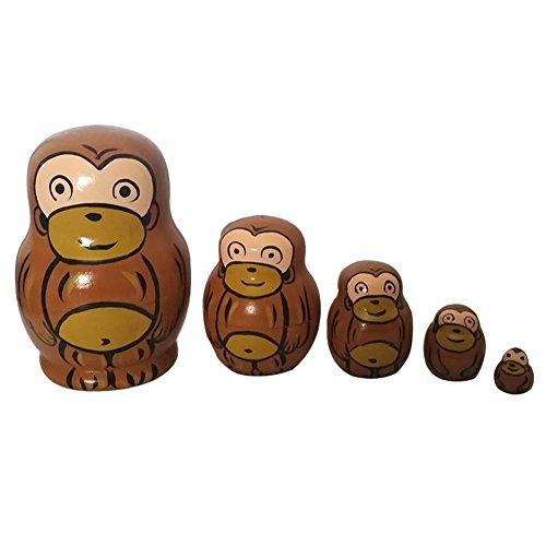 Domeilleur Baby Spielzeug Matryoshka 5 Schicht Holz Tier Handgemalte Russische Verschachtelung Puppen Dekoration Kinder Geschenke