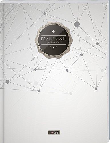 """TULPE Punktraster Notizbuch A4 """"C119 Geometrisch"""" (140+ Seiten, Vintage Softcover, Punktkariertes Papier - Bullet Journal, Dickes Notizheft, ... Gepunktete Seiten, Dot Grid Notebook)"""