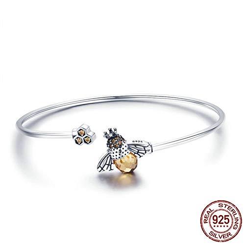 Z&HA 925 Sterling Silber Cuff Armband Natürliche Zitronenbee und Cubic Zirconia (CZ) Kristalle Freundschaftsarmband für Geburtstag (Freundschaftsarmband Tiffany)