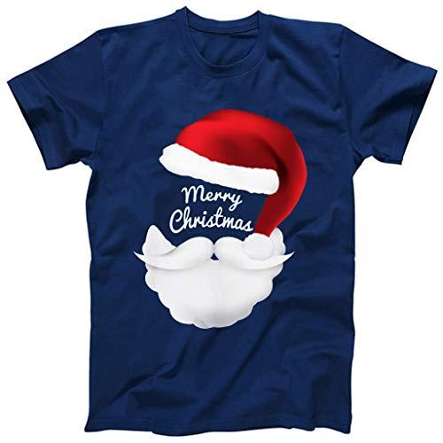 Hniunew Fasching Cosplay Tshirt Herren Santa Claus Fun Shirts O-Neck NikolausmüTze Bart Muster Freizeit Lustige Kurzarm Tee Tops BeiläUfige Herrenhemden Oberteil Weihnachtst-Shirt (T Shirt Kostüm Selbstgemacht)