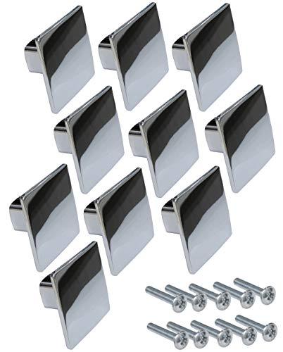 AERZETIX: 5 X Griff für Schublade Schrank Oubeira verchromt 28/28 mm C41441 - 5 Stück Buffet