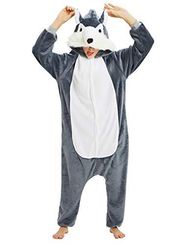 Surpyjama Panda Combinaison Costume Jumpsuit Flanelle Cosplay Soiree de Deguisements Halloween pour Adulte Unisexe (Chien Gris, Small)