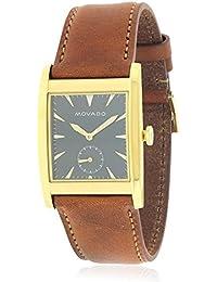Movado Men's Heritage Brown Leather Band Steel Case Swiss Quartz Watch 3650043