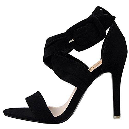 Oasap Women's Fashion Open Toe Cross Stiletto Sandals red
