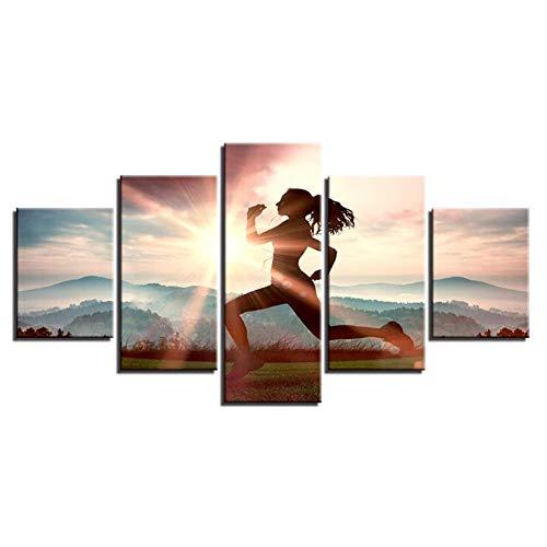 Leinwandbilder Panels Wandkunst Bilder HD Inkjet Mädchen Laufen Poster Hängen Ölgemälde für Wohnzimmer Schlafzimmer Einrichtungsgegenstände 5 Stück,C -