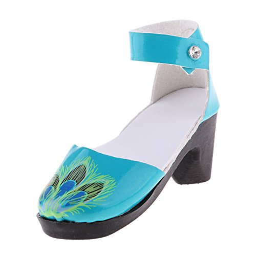 Fenteer Sandali Calzini Tacchi Alti Con Cinturino Caviglia Footwears Miniature Adatto a Vestiti Bambola - Blu