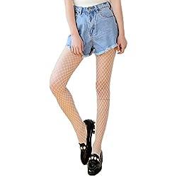 AKABELA Moda Mujer Negro Medias calcetínes de Rejilla de Red de Malla de Pesca Fishnet Tights Panties Talla única
