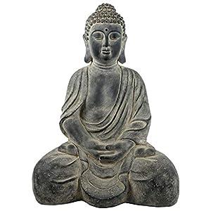 SVITA Buddha sitzend Garten-Deko Figur Asien Statue Skulptur 71 cm groß Feng Shui Stein-Optik grau