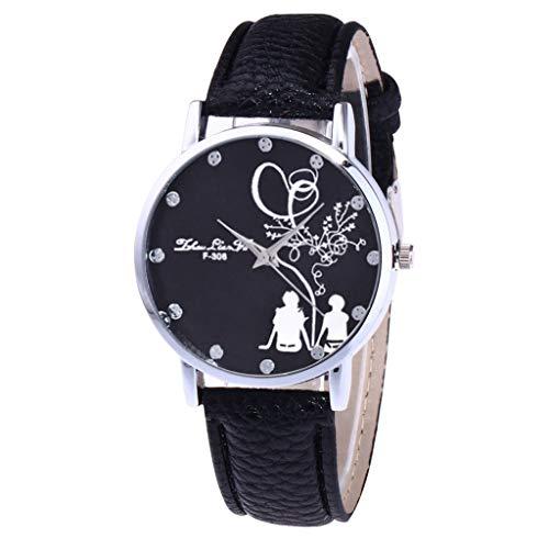 Lazzgirl Damenmode Casual Lederband Analoge Quarz-Uhr(Noir,One Size)