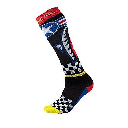 O'Neal Pro MX Knie Socken Wingman Schwarz Blau Rot Strümpe Motocross Enduro Offroad Downhill, 0356-730