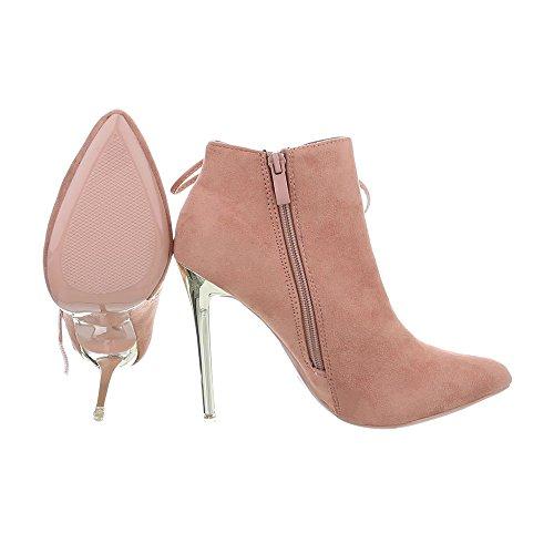 Ital-Design High Heel Stiefeletten Damenschuhe High Heel Stiefeletten Pfennig-/Stilettoabsatz High Heels Reißverschluss Stiefeletten Altrosa TS05P