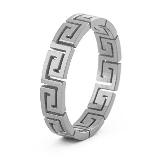 Akitsune Argius Ring   Griechisch Ornament Design-Ring Frauen Herren Edelstahl Filigran Mäander - Silber - US 10 (Ringe Herren-außergewöhnliche)