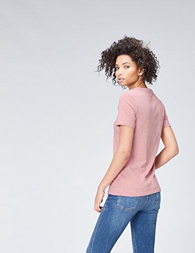 FIND Damen T-Shirt Crew Neck Rosa