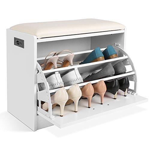 HOMFA Étagère à Chaussures 3 Niveaux, Meuble Banc de Rangement Chaussure et Salle de Bain, Siège Tabouret pour Chausser, Banquette (Blanc)