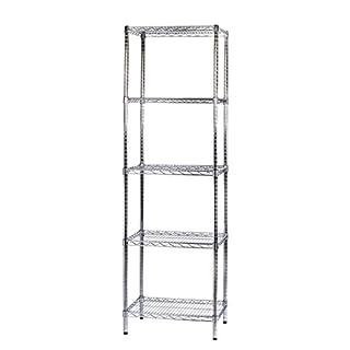 ARCHIMEDE System Modular Shelving Five Shelves, Metal, Chrome, 61x 46x 200cm