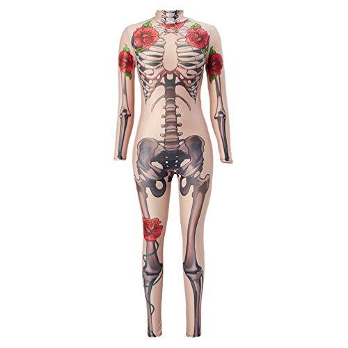 Idgreatim Damen Halloween Kostüm 3D Rosenknochen Muster Zipper Zurück Langarm Halloween Cosplay Kostüme Jumpsuit Body Kostüm Kostüm S