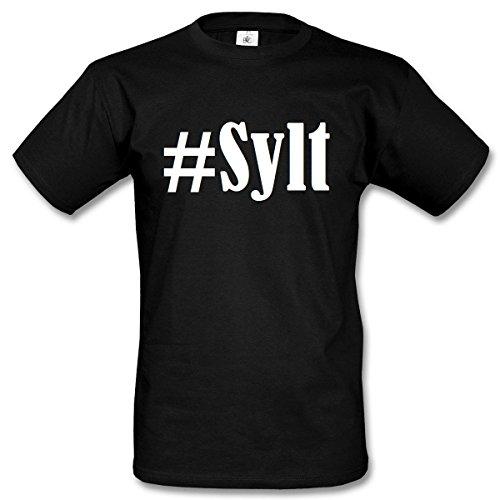T-Shirt #Sylt Hashtag Raute für Damen Herren und Kinder ... in der Farbe Schwarz Schwarz