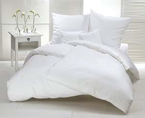 mako satin bettw sche set blanche 240x220 cm uni wei bettdecke und kopfkissen bezug aus. Black Bedroom Furniture Sets. Home Design Ideas