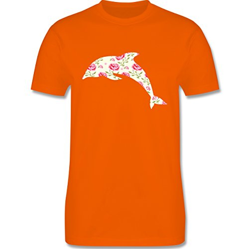 Sonstige Tiere - Delfin Blumen Rose - Herren Premium T-Shirt Orange
