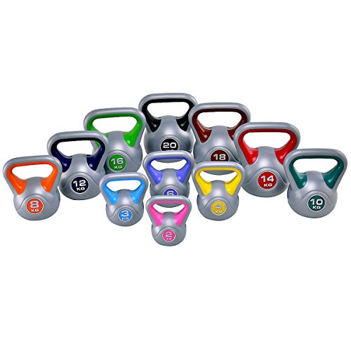Costway Kettlebell Kugelhantel Rundgewicht Kugelgewicht Handgewicht 2 bis 20Kg (3KG/hellblau)