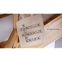 Tote bag scrabble-sac prénom personnalisable-cadeaux de noël-décoration de noël-cadeaux personnalisés