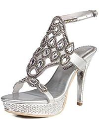 Zapatos de tacón alto para mujeres, primavera verano Nuevo Súper bonito Rhinestone de tacón alto Sandalias de...