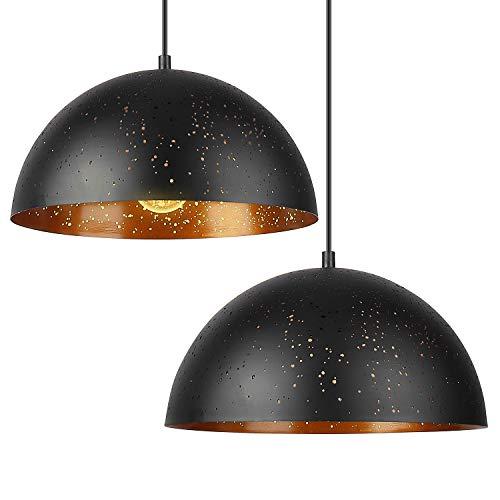 Deckey 2x Lochmuster Pendelleuchte Hängeleuchte Leuchten Φ 30cm mit für E27 Leuchtmittel, Außen schwarz und Innen gold, für Wohnzimmer Esszimmer Restaurant Keller Untergeschoss usw.